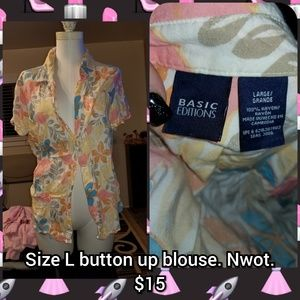 Size L button front Hawaiian top.  Nwot